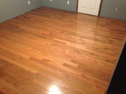 Wood floor refinishing job with a light color stain. Professional hardwood floor refinishing options now available to the public.