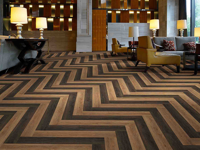 Example of preinstalled LVT for great looking hospitality flooring.